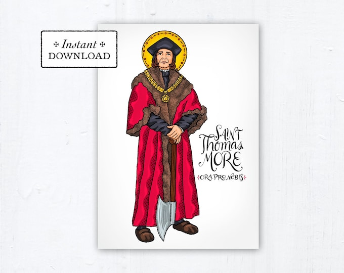 "Saint Thomas More Card - Art Print - Instant Download - DIY Downloadable PDF 5""x7"" Catholic Saint Printable Confirmation Gift"