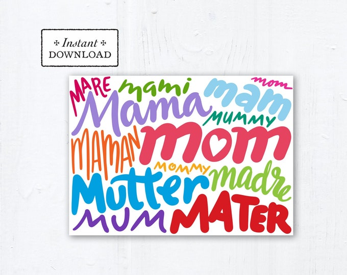 "Mother's Day Card - Mom Languages - Art Print - Instant Download - DIY Downloadable PDF 5""x7"" - Catholic Printable Card Mother's Day Card"