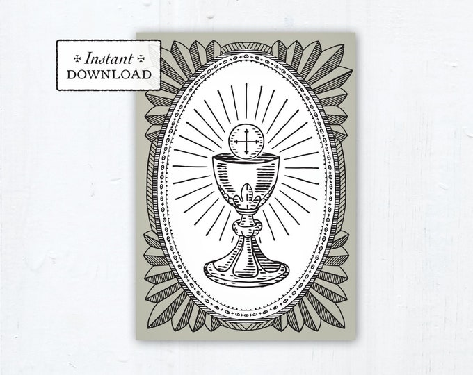 "Catholic First Communion Card Ciborium Engraving Taupe Tan - Instant Download - DIY Downloadable PDF 5""x7"""