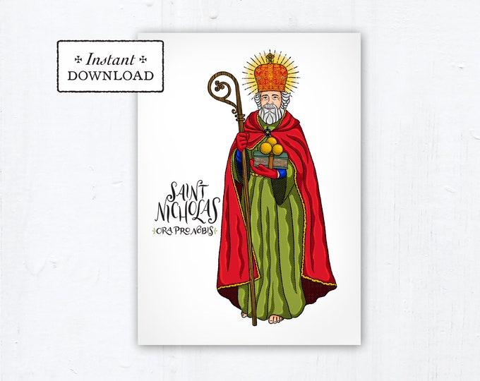 """Saint Nicholas Card - Art Print - Instant Download - DIY Downloadable PDF 5""""x7"""" Catholic Saint Printable Confirmation Gift St. Nicholas"""