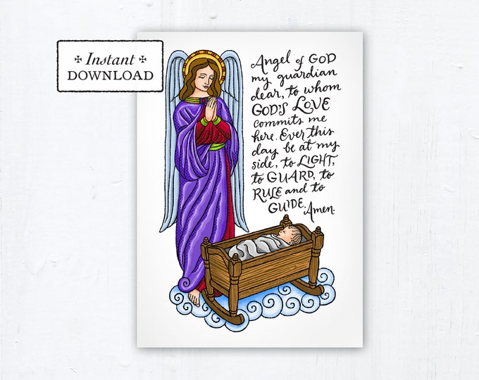 "Guardian Angel Prayer - Art Print - Instant Download - DIY Downloadable PDF 5""x7"" Catholic Printable Guardian Angel Prayer Gift"