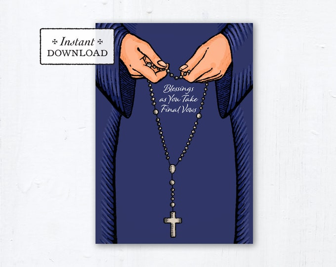 "Nun Final Vows Card Praying Rosary Blue Habit - Instant Download - DIY Downloadable PDF 5""x7"" Catholic Sister Printable Card Final Vows"