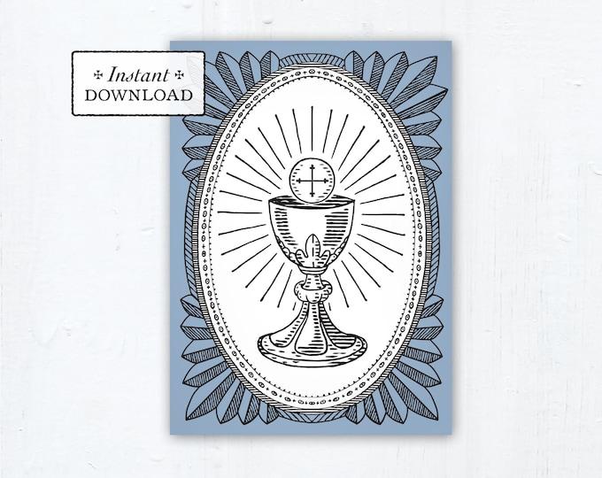 "Catholic First Communion Card Ciborium Engraving Blue - Instant Download - DIY Downloadable PDF 5""x7"""