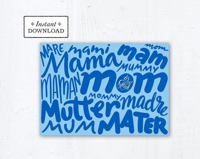 "Catholic Mother's Day Card - Mom Languages - Instant Download - DIY Downloadable PDF 5""x7"" - Catholic Printable Card Mother's Day"