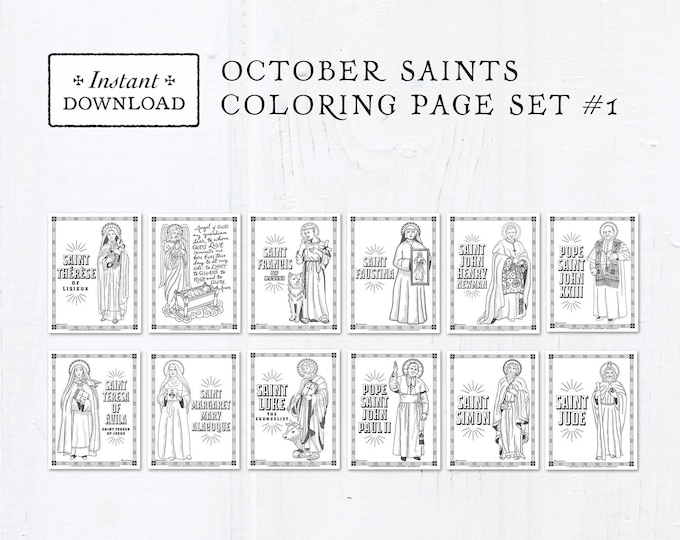 Catholic Coloring Pages - October Saints Set #1 - Bundle of 12 - Catholic Saints - Printable Coloring Pages - Digital - PDF