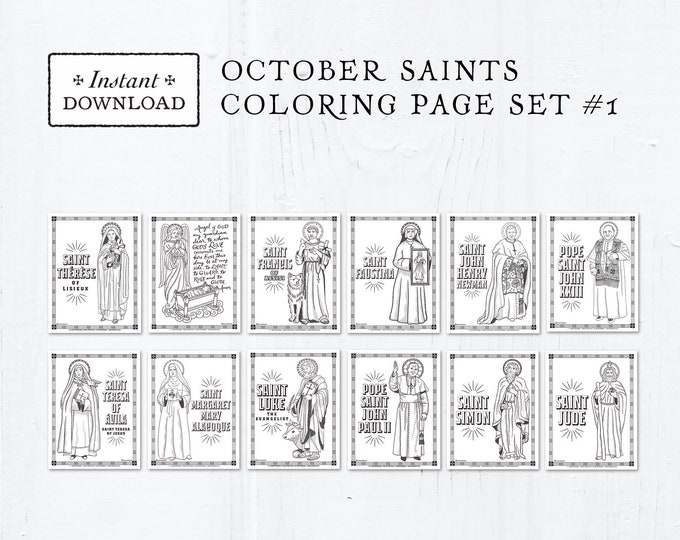 Catholic Coloring Pages - October Saints Set #1 - Bundle of 12 - Catholic Saints - Printable Coloring Pages - Digital - PDF