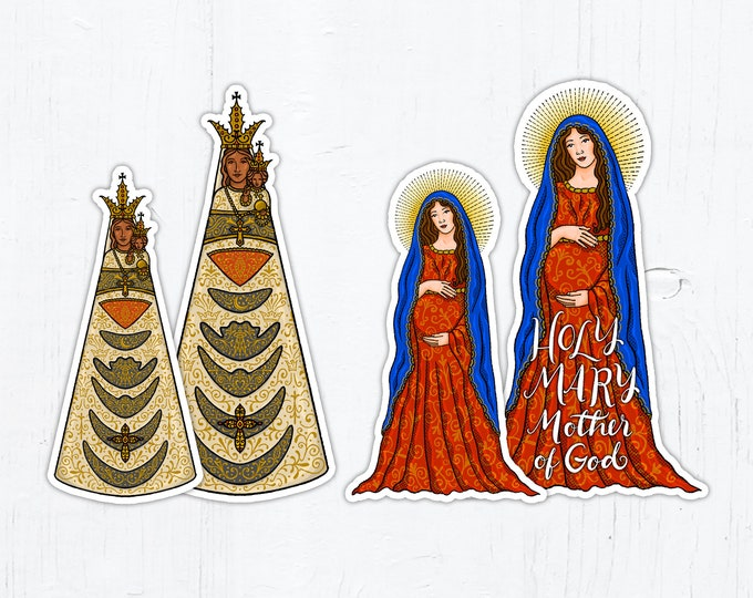 Catholic Marian Stickers: Our Lady of Loreto, Mary Mother of God 4 Inch Die Cut Vinyl Stickers Peel & Stick Catholic Stickers Mary Stickers