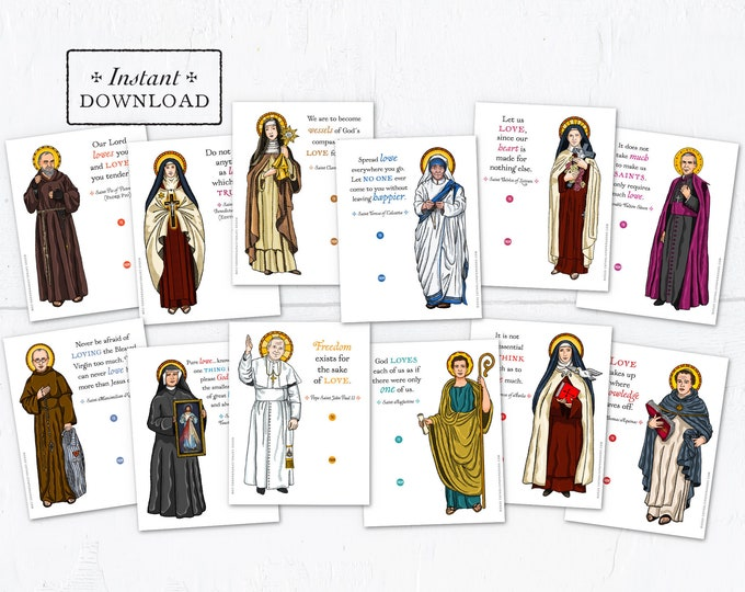 Catholic Saints Valentine Exchange Cards Set 1 - Printable - DIY Downloadable PDF - 8.5x11 - Catholic Printable Valentine Saints Valentines