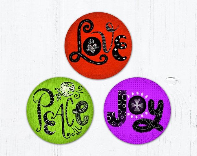 "Fruits of the Holy Spirit 3"" Circle Color - Love Sticker - Peace Sticker - Joy - Vinyl Sticker Peel & Stick Weatherproof Dishwasher Safe"