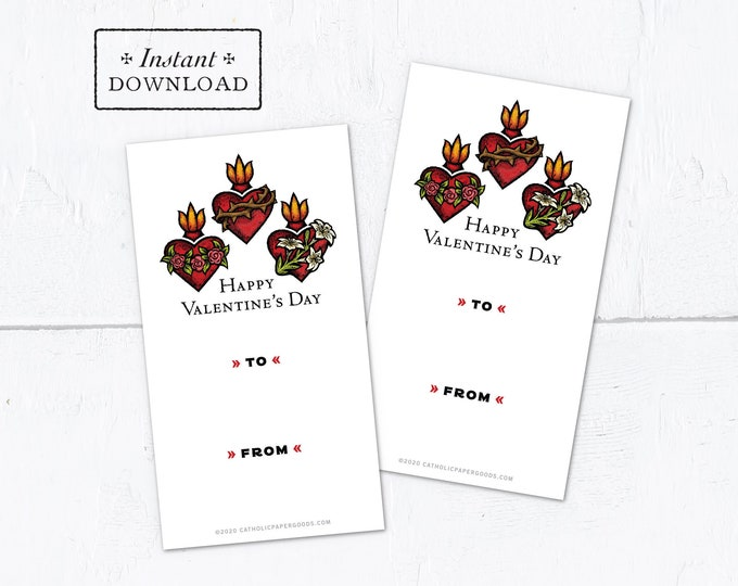 Catholic Sacred Heart Trio Valentine Exchange Cards - Printable - DIY Downloadable PDF - 8.5x11 - Catholic Printable Valentine