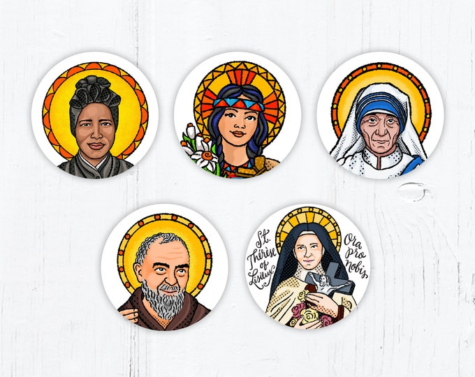 "Catholic Saint Stickers: Josephine Bakhita Kateri Teresa Calcutta Padre Pio Thérèse Lisieux - Vinyl Decal 2""x2"" Peel & Stick - Weatherproof"