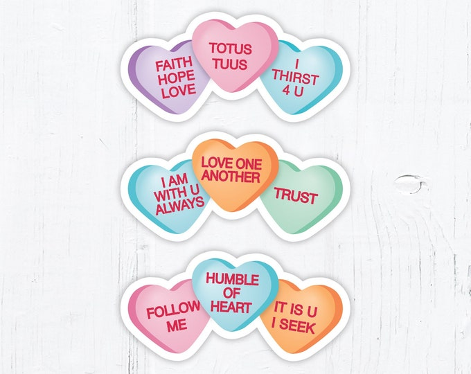 Catholic Conversation Hearts Valentine Vinyl Stickers Group of 3 - 3 Inch Peel & Stick - Valentine Stickers - Water Resistant Decals