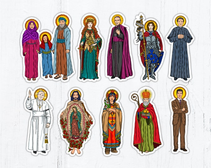 "3"" Sticker Catholic Saints: Dymphna, Joan of Arc, Kateri, JPII, Fulton Sheen, Juan Diego, John Bosco, Nicholas, Pier Giorgio, Anne, Joachim"