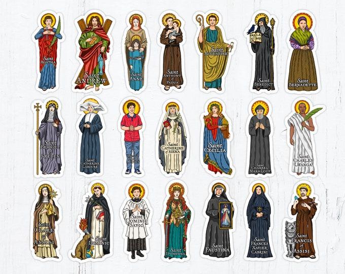 Catholic Saints 4 Inch Die Cut Vinyl Stickers Peel & Stick