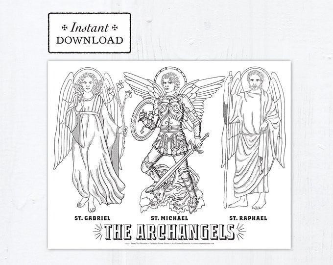 Archangels: St. Michael, St. Gabriel, St. Raphael Coloring Page, Saints, Printable Coloring Page, Digital, PDF Archangels Coloring Page