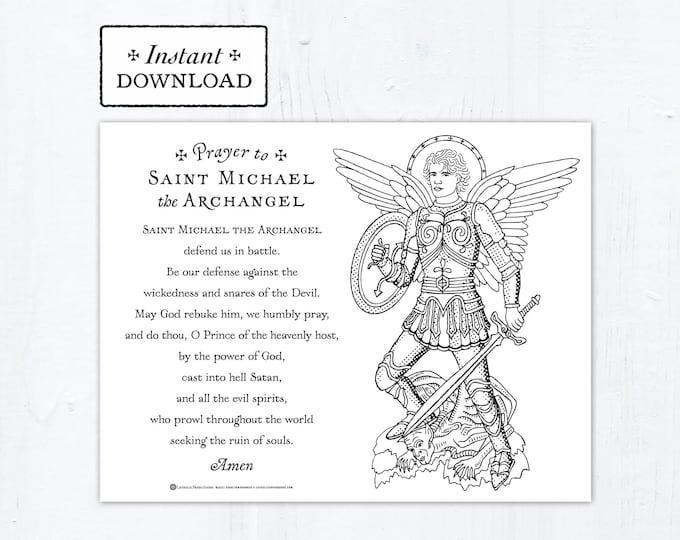 Saint Michael the Archangel Prayer Coloring Page, Printable Coloring Page, Digital Coloring Page, PDF, Catholic Coloring Page