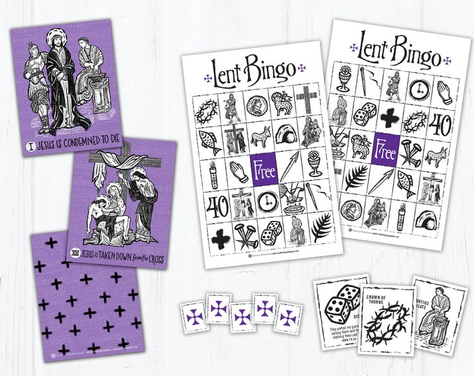 Stations of the Cross Memory Game and Lent Bingo Game Bundle - Catholic Games for Kids - Printable - DIY - PDF Print it Yourself