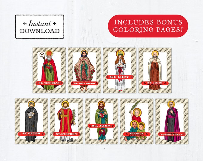 Catholic Saint Trading Cards December Set #1 - Printable - PLUS Bonus Coloring Pages! DIY Downloadable PDF - 8.5x11 - 9 Total Saint Cards