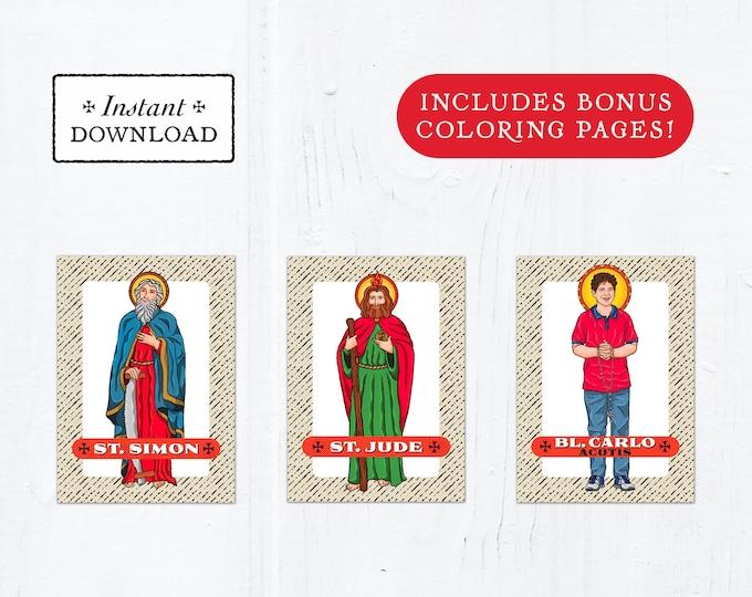 Catholic Saint Trading Cards October Set #2 - Printable - PLUS Bonus Coloring Pages! DIY Downloadable PDF - 8.5x11 - 3 Total Saint Cards