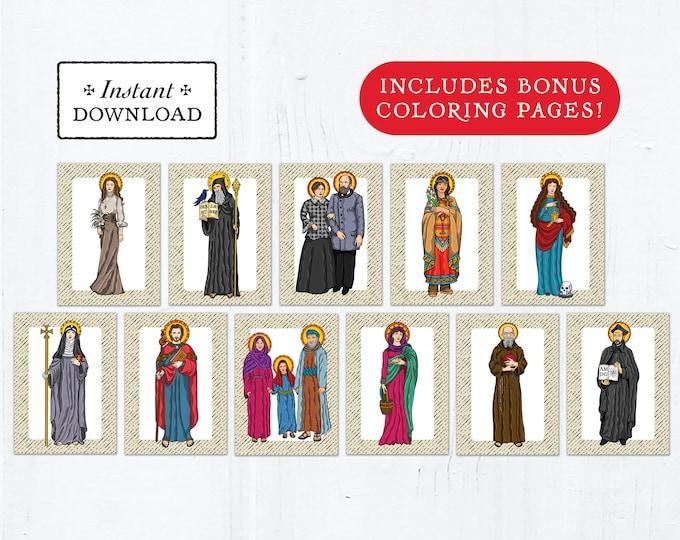 Catholic Saint Flash Cards July Set #1 - Printable - PLUS Bonus Coloring Pages! DIY Downloadable PDF - 8.5x11 - 11 Total Saint Cards