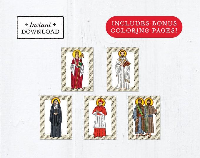 Catholic Saint Flash Cards September Set #2 - Printable - PLUS Bonus Coloring Pages! DIY Downloadable PDF - 8.5x11 - 5 Total Saint Cards