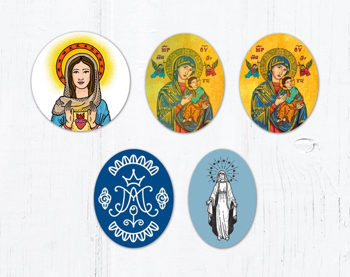 """Marian Stickers: Blessed Virgin Mary Oval, Auspice Maria/Ave Maria, Our Lady of Perpetual Help, Immaculate Heart of Mary Vinyl Stickers 3"""""""