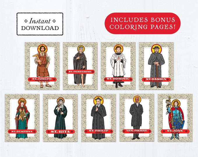 Catholic Saint Trading Cards May Set #1 - Printable - PLUS Bonus Coloring Pages! DIY Downloadable PDF - 8.5x11 - 9 Total Saint Cards