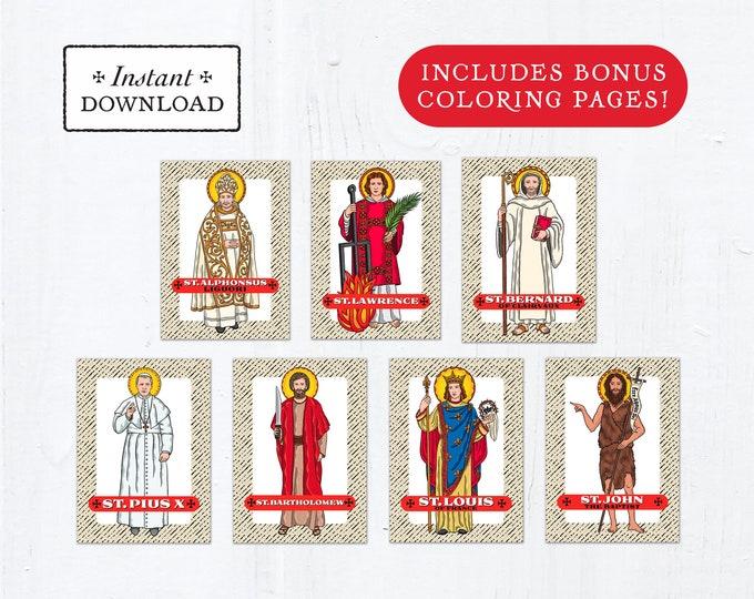 Catholic Saint Trading Cards August Set #2 - Printable - PLUS Bonus Coloring Pages! DIY Downloadable PDF - 8.5x11 - 7 Total Saint Cards