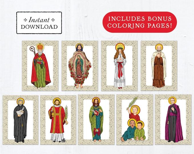 Catholic Saint Flash Cards December Set #1 - Printable - PLUS Bonus Coloring Pages! DIY Downloadable PDF - 8.5x11 - 9 Total Saint Cards