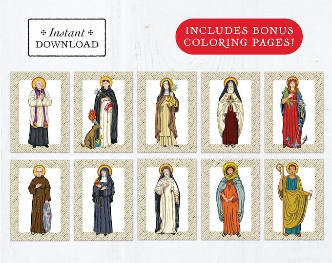 Catholic Saint Flash Cards August Set #1 - Printable - PLUS Bonus Coloring Pages! DIY Downloadable PDF - 8.5x11 - 10 Total Saint Cards