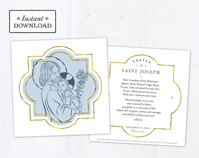 "St. Joseph Prayer Card - Art Print - Instant Download - DIY Downloadable PDF 5.25""x5.25"" Catholic Saint Printable St. Joseph Holy Card"