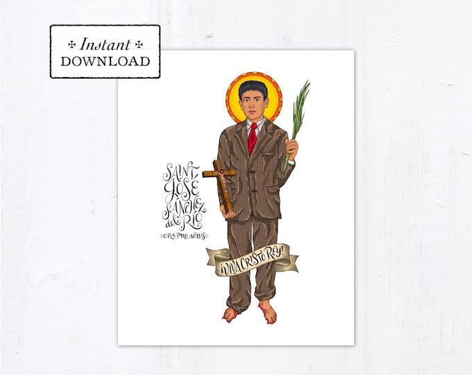"""Saint José Sánchez del Río Frameable Art Print - Instant Download - DIY Downloadable PDF 8""""x10"""""""