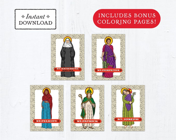 Catholic Saint Trading Cards March Set #1 - Printable - PLUS Bonus Coloring Pages! DIY Downloadable PDF - 8.5x11 - 5 Total Saint Cards