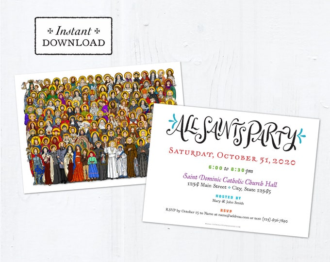 """All Saints Day Party Invitation Customizable Template - Downloadable PDF 5""""x7"""""""