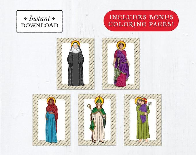 Catholic Saint Flash Cards March Set #1 - Printable - PLUS Bonus Coloring Pages! DIY Downloadable PDF - 8.5x11 - 5 Total Saint Cards