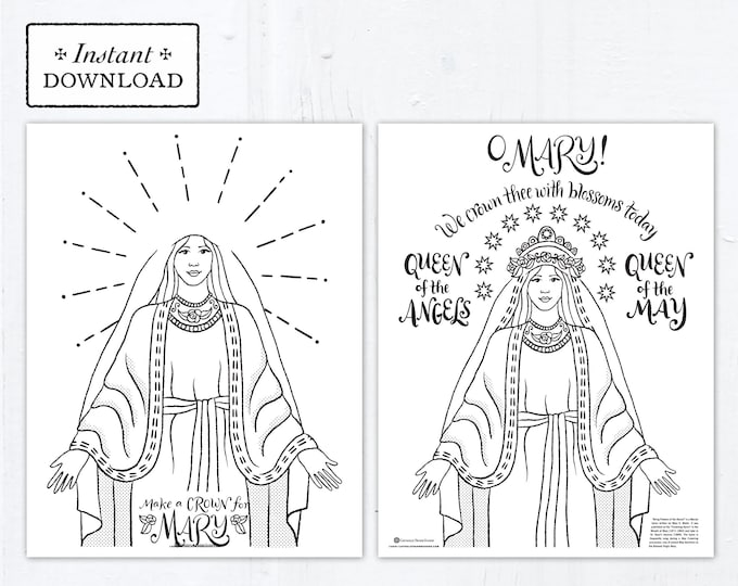 May Crowning Marian Catholic Coloring Pages - 4 Printable Coloring Pages - Digital - PDF Make Mary a Crown Coloring Page Crown Templates