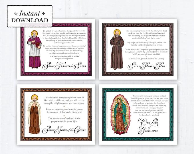 "Saint Quotes on Anxiety Printable Catholic Art Prints, Saint Cards, Instant Download, DIY Downloadable PDF 8.5""x11"" Saint Quotes"