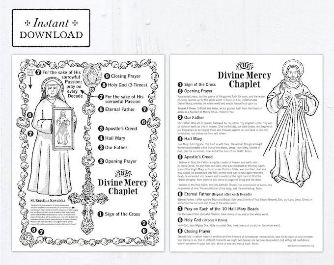 The Divine Mercy Chaplet Catholic Coloring Pages - Catholic Saints - 2 Printable Coloring Pages - Digital - PDF