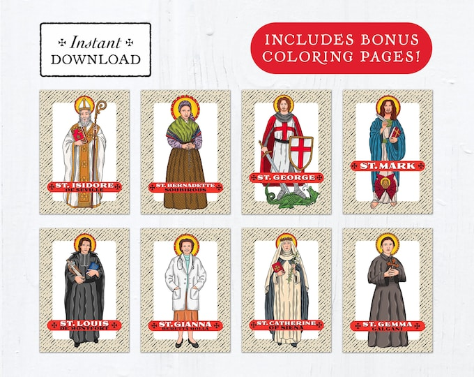 Catholic Saint Trading Cards April Set #1 - Printable - PLUS Bonus Coloring Pages! DIY Downloadable PDF - 8.5x11 - 8 Total Saint Cards