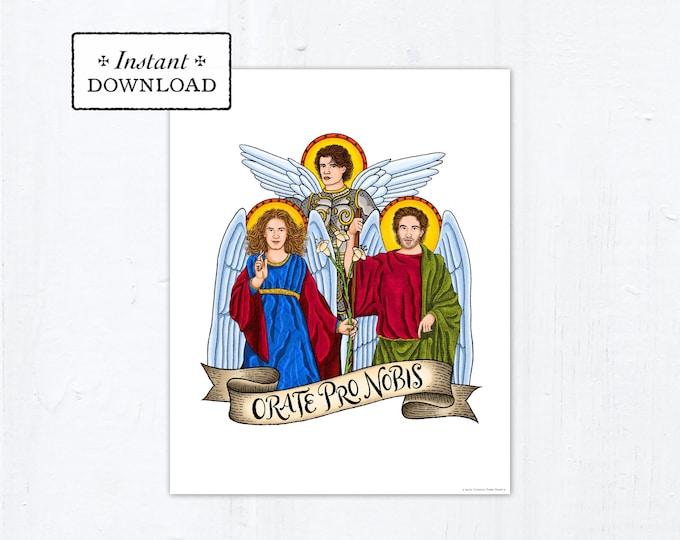 """Archangels Frameable Art Print Saint Poster, Instant Download, Downloadable PDF 8""""x10"""" Saint Squad St Michael St Gabriel St Raphael"""