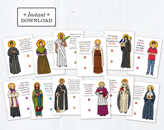 Catholic Saints Valentine Exchange Cards Set 2 - Printable - DIY Downloadable PDF - 8.5x11 - Catholic Printable Valentine Saints Valentines