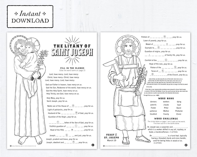 The Litany of Saint Joseph Catholic Coloring Pages and Word Game - Catholic Saints - 2 Printable Coloring Pages - Digital - PDF