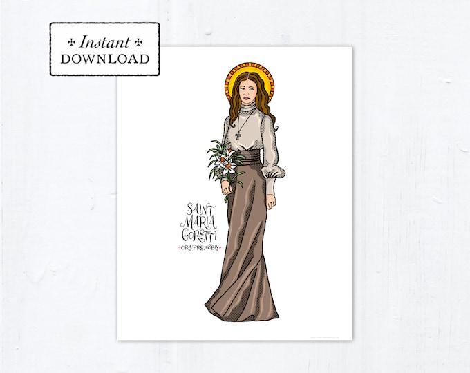 "Saint Maria Goretti Frameable Art Print - Instant Download - DIY Downloadable PDF 8""x10"""