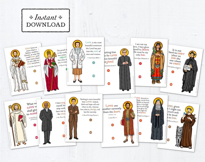 Catholic Saints Valentine Exchange Cards Set 3 - Printable - DIY Downloadable PDF - 8.5x11 - Catholic Printable Valentine Saints Valentines