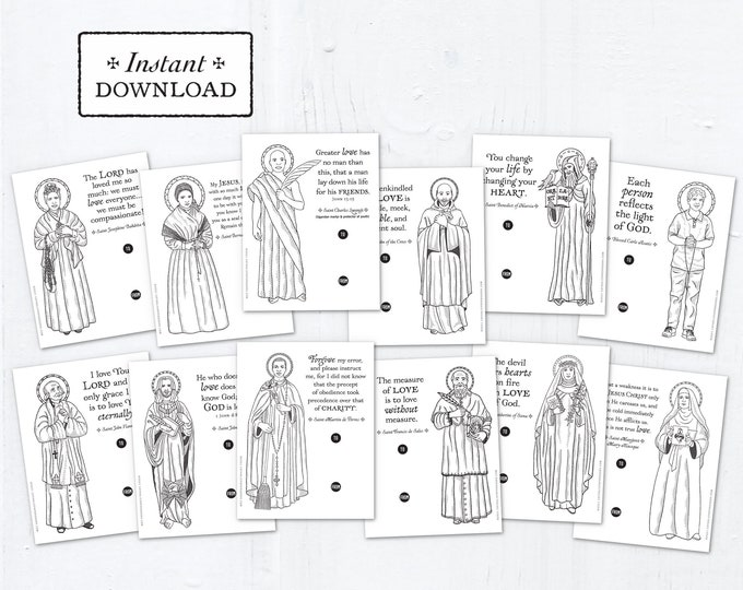 Catholic Saints Coloring Page Valentine Exchange Cards Set 2 - Printable - DIY Downloadable PDF - 8.5x11 - Catholic Printable Valentines