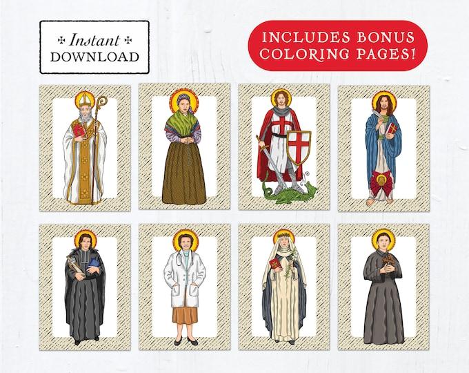 Catholic Saint Flash Cards April Set #1 - Printable - PLUS Bonus Coloring Pages! DIY Downloadable PDF - 8.5x11 - 8 Total Saint Cards