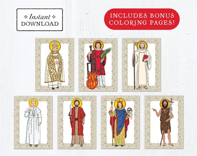 Catholic Saint Flash Cards August Set #2 - Printable - PLUS Bonus Coloring Pages! DIY Downloadable PDF - 8.5x11 - 7 Total Saint Cards