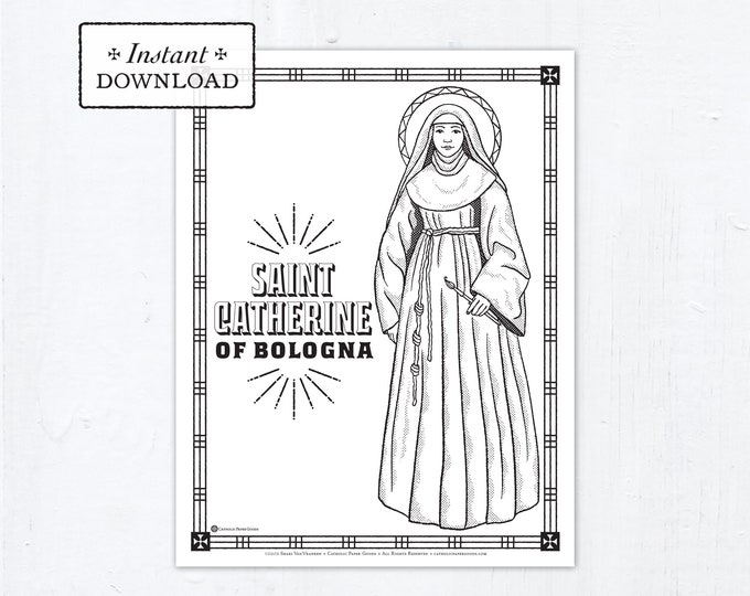 Catholic Coloring Page - Saint Catherine of Bologna - Catholic Saints - Printable Coloring Page - Digital - PDF