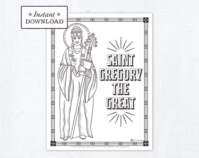 Catholic Coloring Page - Saint Gregory the Great - Catholic Saints - Printable Coloring Page - Digital - PDF