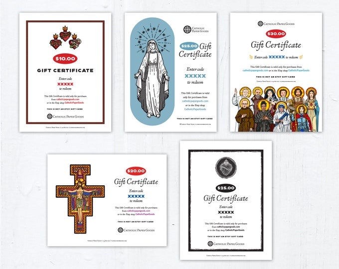 "Gift Certificate Catholic Paper Goods Downloadable PDF Gift Certificate 8.5"" x 11"" DIY Gift Certificate Christmas Gift Birthday Gift"